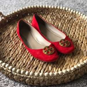 Tory Burch Red Suede Chelsea Ballet Flat